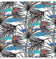 gray palm leaves with blue strokes seamless vector image vector image