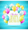 happy birthday card with balloons vector image vector image