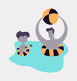 happy family on lifebuoy vacation together on the vector image