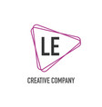 initial letter le triangle design logo concept vector image vector image