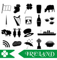 ireland country theme symbols outline icons set vector image vector image