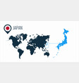 japan map located on a world map with flag vector image vector image