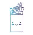 kawaii rectangular paper bag with foods sausage vector image