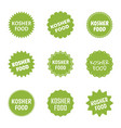 kosher food icon set jewish healthy food labels vector image