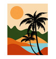 landscape with mountains sea and palms vector image