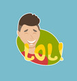 lol sticker social media network message badges vector image vector image