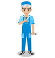 male car mechanic holding wrench vector image