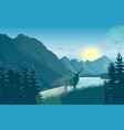 mountain landscape with deer in a forest near lake vector image vector image