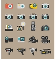 Photo and video camera flat icons vector image