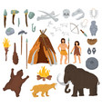 primitive people mammoth and ancient vector image