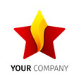 red and yellow five point star logo vector image vector image