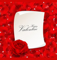 red rose with blank paper for text vector image vector image