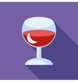 Red wine in glass icon flat style vector image