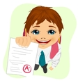 schoolboy showing his test paper vector image vector image