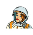 serious woman astronaut isolate on a white vector image vector image