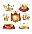 set icons royal golden crowns of vector image