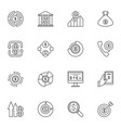 set money outline icons cash vector image