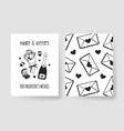 set of hand drawn templates fashion cards with vector image vector image