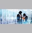 silhouette people working in data center room vector image vector image