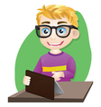 Smart Boy Playing Tablet vector image vector image