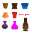 sticker set of tree pots vector image