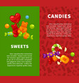 sweets and candies vertical posters with vector image vector image