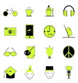 Teenage icons of green and black color vector image