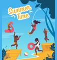 tourist flyer is written summer time cartoon vector image