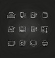 writing tools line icons on chalkboard design vector image