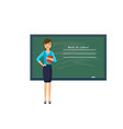 young teacher with pointer beside blackboard vector image vector image