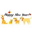funny yellow dogs symbol of year 2018 flat style vector image