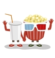 cinema pop corn and cola character friends vector image