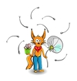 Fox with Gift vector image