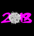 abstract number 2018 and golf ball vector image vector image