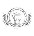beer glass barrel beverage alcohol emblem vector image