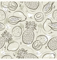 beige seamless patterns with papaya coconut and vector image vector image