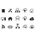 black cloud network icons set vector image vector image
