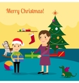 Christmas tree mother and son vector image