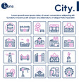 city locations color linear icons set vector image vector image