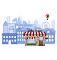 coffee shop on the background of the city vector image