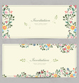cute floral invitation cards for your design vector image