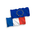 flags france and european union on a white vector image