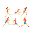 flat set of athletes in running action man vector image