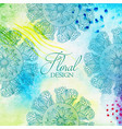 floral ornamental design with watercolor texture vector image