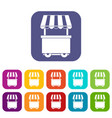 food trolley with awning icons set flat vector image vector image