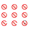 Forbidding Signs business hand gestures icons vector image vector image