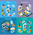 four webinar isometric icon set vector image vector image