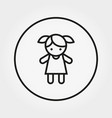girl doll toy icon line vector image vector image