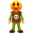 happy kid wearing pumpkin mask vector image vector image