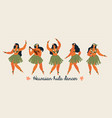 hawaiian hula dancers young pretty woman vector image